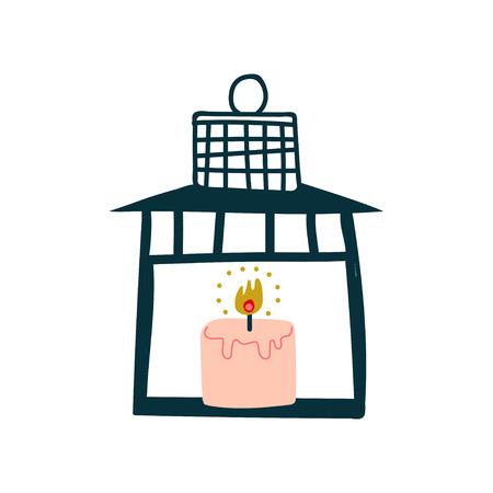 Vintage Lantern with Burning Candle Vector Illustration on White Background.