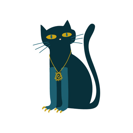 Black Cat Witchcraft Attribute Vector Illustration Isolated on White Background. 스톡 콘텐츠 - 123810591