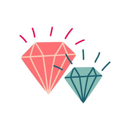 Shining Crystals, Magic Stones, Witchcraft Attribute Vector Illustration