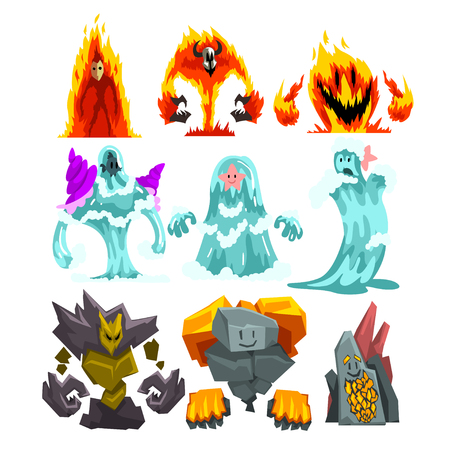Fire, Stone and Water Monsters Set, Fantasy Mystic Creatures Elementals Cartoon Characters Vector Illustration on White Background.