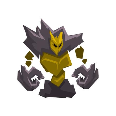 Stone Golem Monster, Fantasy Mystic Creature Cartoon Character Vector Illustration