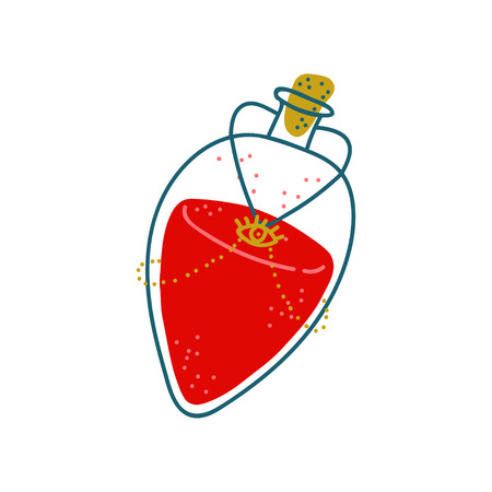Potion Bottle, Glass Transparent Flask with Red Liquid, Magic Object, Witchcraft Attribute Vector Illustration on White Background.
