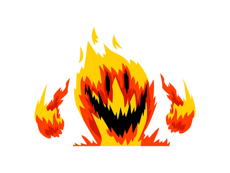 Fire Monster, Fantasy Mystic Creature Cartoon Character Vector Illustration on White Background.