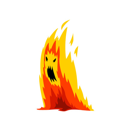 Fire Monster Cartoon Character, Fantasy Creature Vector Illustration on White Background.