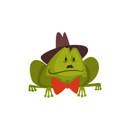 Frog Wearing Black Hat and Bow Tie, Cute Humanized Amfibian Animal Cartoon Character Vector Illustration on White Background. Foto de archivo - 123810601