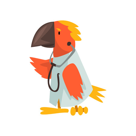 Parrot Doctor Wearing White Lab Coat with Stethoscope, Cute Humanized Animal Cartoon Character Vector Illustration on White Background. Banque d'images - 123810602