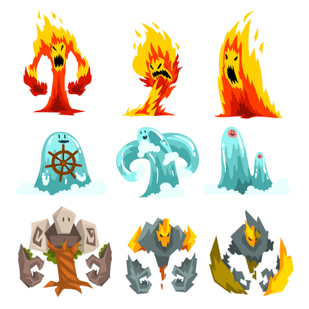 Fire, Stone and Water Monsters Set, Fantasy Mystic Creatures Cartoon Characters Vector Illustration on White Background.