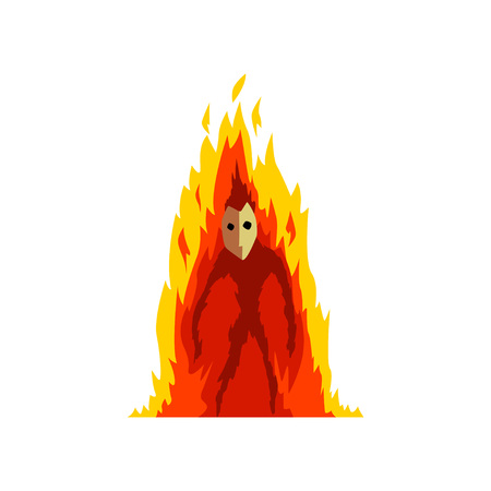 Flaming Fire Devil, Fantasy Mystic Creature Cartoon Character Vector Illustration on White Background.