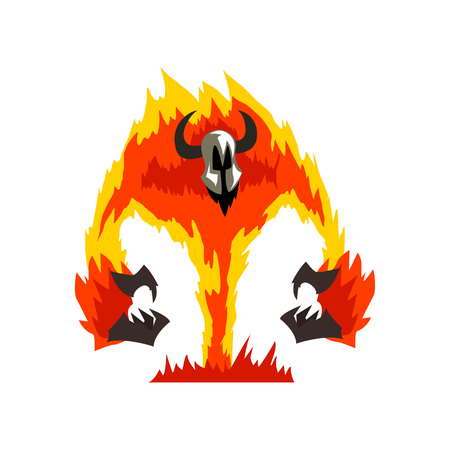 Flaming Fire Devil, Demonic Infernal Creature Cartoon Character Vector Illustration on White Background.