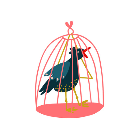 Raven in Birdcage, Magic Object, Witchcraft Attribute Vector Illustration on White Background.
