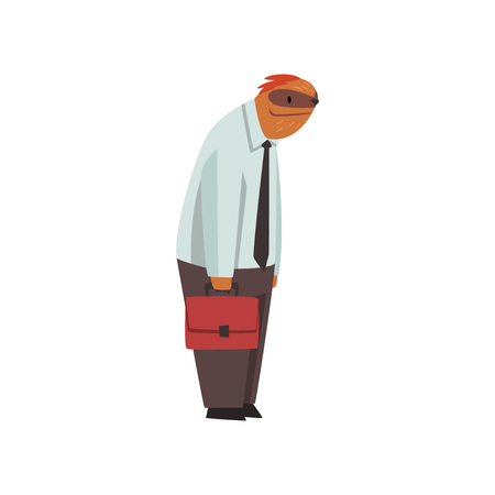 Laziness Sloth Businessman Office Worker, Cute Humanized Animal Cartoon Character Wearing Formal Clothes Standing with Briefcase Vector Illustration on White Background. Illustration