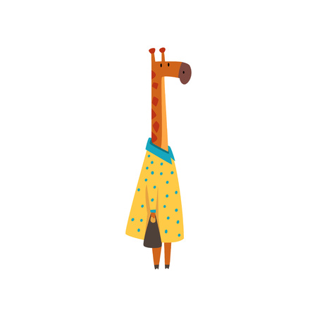 Female Giraffe in Dress Standing with Bag, Cute Humanized Animal Cartoon Character Vector Illustration on White Background.