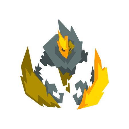Fantasy Mystic Fire Stone Elemental Monster Creature Vector Illustration on White Background.