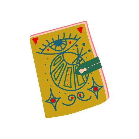 Witch Spell Book, Magic Object, Witchcraft Attribute Vector Illustration on White Background.