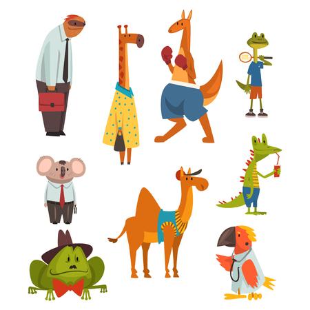 Animals of Different Professions Set, Sloth, Giraffe, Kangaroo, Frog, Parrot, Coala Bear, Camel, Crocodile Humanized Animals Cartoon Characters Vector Illustration on White Background.