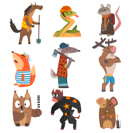 Animals of Different Professions Set, Horse, Snake, Rat, Fox, Wolf, Deer, Owl, Bull, Mouse Humanized Animals Cartoon Characters Vector Illustration on White Background.