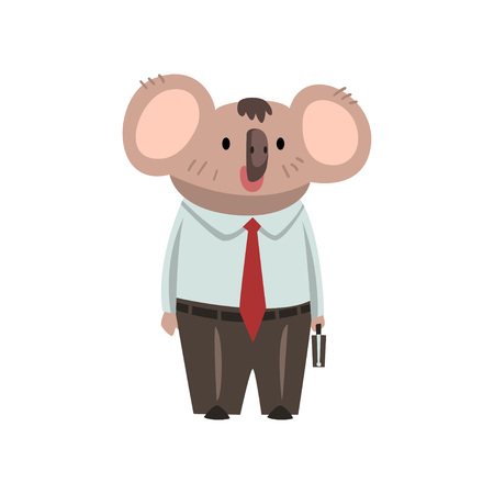 Coala Bear Businessman Office Worker, Cute Humanized Animal Cartoon Character Wearing Formal Clothes Standing with Briefcase Vector Illustration on White Background.