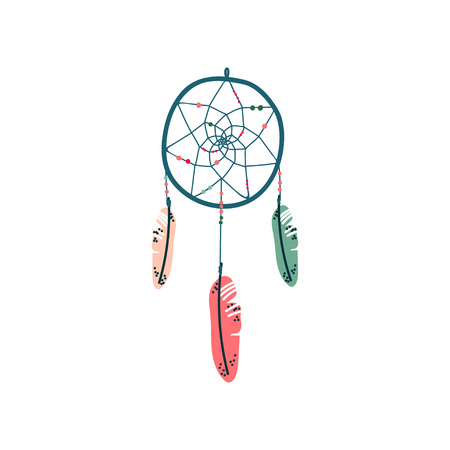 Dream Catcher Magic Object, Witchcraft Attribute Vector Illustration on White Background.  イラスト・ベクター素材