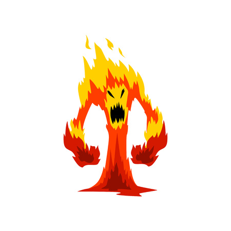 Furious Fire Monster, Fantasy Mystic Creature Cartoon Character Vector Illustration on White Background.