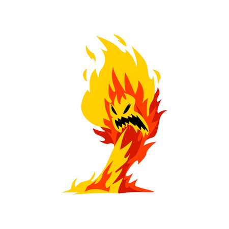 Fire Monster Cartoon Character, Fantasy Mystic Elemental Vector Illustration on White Background.