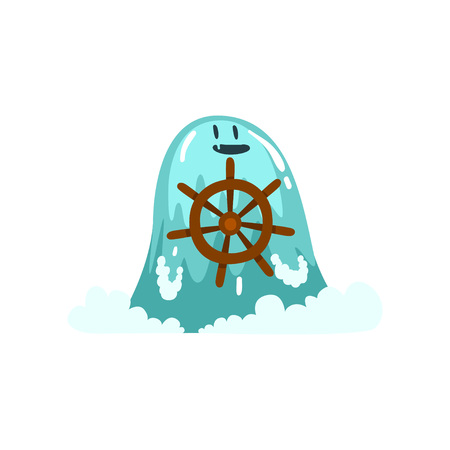 Cute Water Monster with Steering Wheel, Fantasy Creature Cartoon Character Vector Illustration