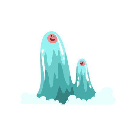 Cute Water Monsters Cartoon Characters, Fantasy Creature Vector Illustration Ilustração