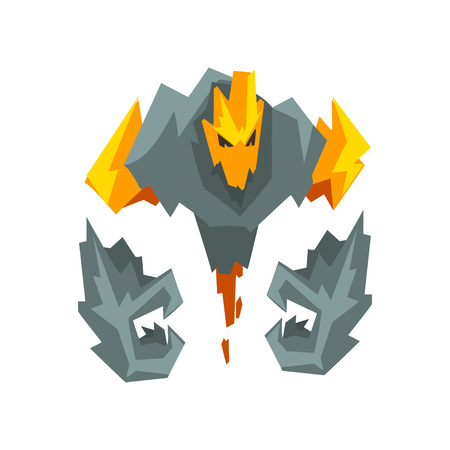 Fire Stone Monster Fantasy Mystic Creature Character Vector Illustration on White Background. Çizim