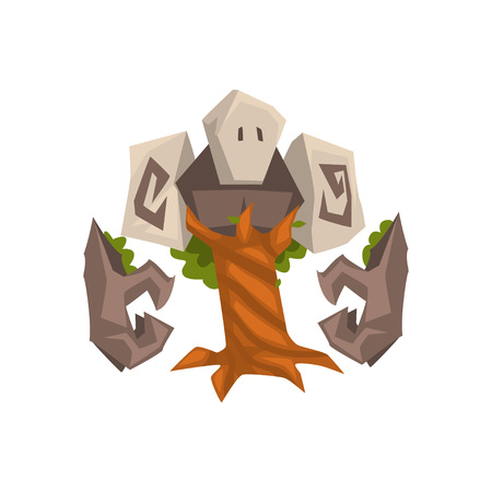 Stone Tree Golem, Fantasy Mystic Monster Creature Cartoon Character Vector Illustration