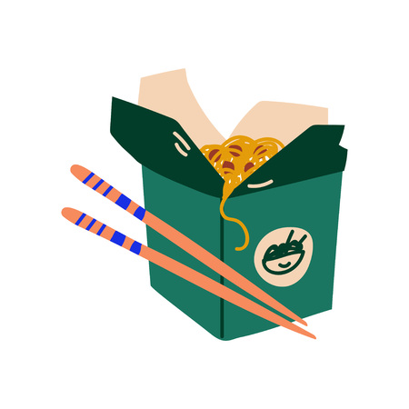 Green Takeaway Carton Box of Noodles with Vegetables and Chopsticks, Traditional Chinese or Japanese Food Vector Illustration on White Background.