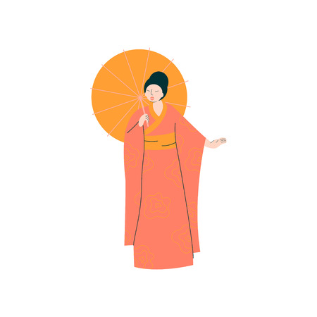 Female Opera Singer Performing On Stage, Beautiful Woman Giving Representation in Japanese Traditional Clothing Vector Illustration
