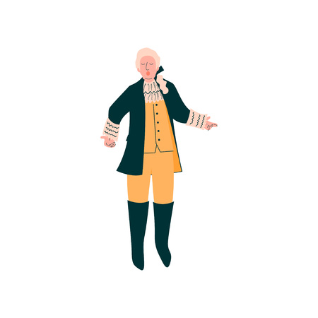 Male Opera Singer Performing On Stage, Man Giving Representation in Ancient Suit and Wig Vector Illustration Standard-Bild - 120701421