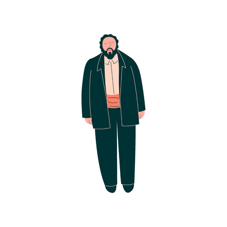 Male Opera Singer Performing On Stage, Man Giving Representation in Tuxedo Vector Illustration