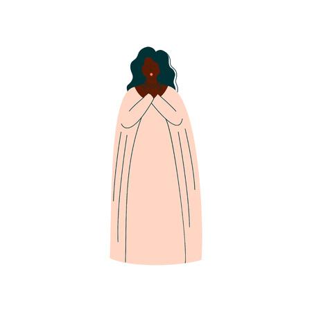 Cantante d'opera femminile che si esibisce sul palco, bella donna afroamericana che dà rappresentazione in abito bianco lungo Vector Illustration Vettoriali