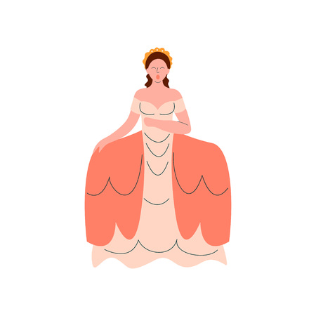Female Opera Singer Performing On Stage, Beautiful Woman Giving Representation in Ancient Long Dress Vector Illustration 向量圖像