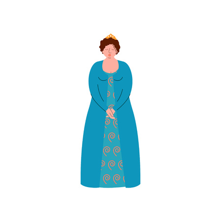 Female Opera Singer Performing On Stage, Beautiful Woman Giving Representation in Long Blue Dress Vector Illustration