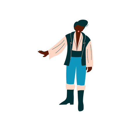 Male Opera Singer Performing On Stage, African Amercian Man Giving Representation Vector Illustration Standard-Bild - 120701427