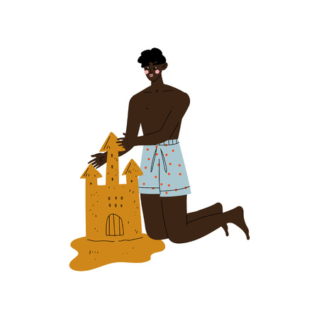 Young African American Man Making Sand Castle on Beach, Guy Relaxing on Beach on Summer Vacations Vector Illustration