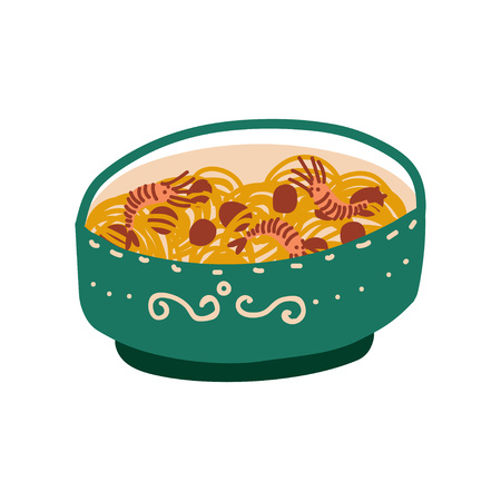 Green Bowl of Noodles with Shrimps, Traditional Chinese or Japanese Food, Ramen Noodles Vector Illustration on White Background.