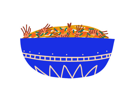 Blue Bowl of Noodles with Shrimps, Traditional Chinese or Japanese Food, Ramen Noodles Vector Illustration on White Background.