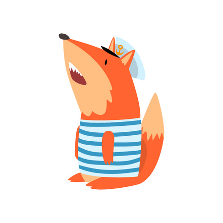 Fox Sailor Wearing Striped Singlet and Cap, Cute Humanized Animal Cartoon Character Vector Illustration on White Background.