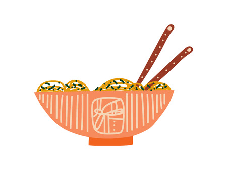 Bowl of Noodles Soup with Chopsticks, Traditional Chinese or Japanese Food, Ramen Noodles Vector Illustration on White Background. Illusztráció
