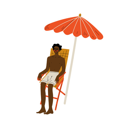 African American Man in Shorts Sitting in Chaise Lounge Under Sunshade Parasol, Guy Relaxing on Beach on Summer Vacations Vector Illustration Ilustração