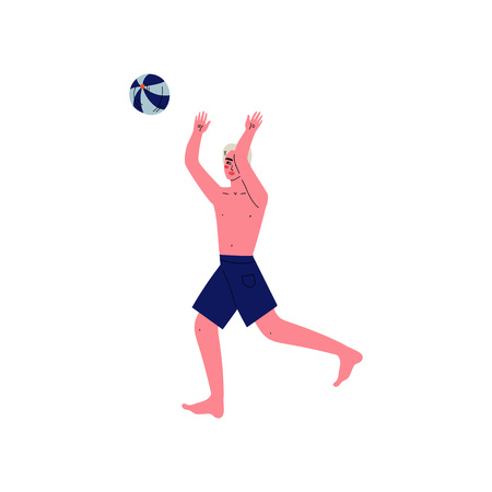 Young Man Playing Beach Volleyball, Guy Relaxing on Beach on Summer Vacations Vector Illustration