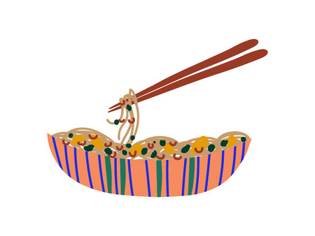 Bowl of Noodles with Vegetables and Chopsticks, Chinese or Japanese Food, Ramen Noodles Vector Illustration on White Background.