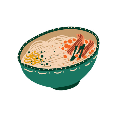 Green Bowl of Noodles with Meat, Traditional Chinese or Japanese Food, Ramen Noodles Vector Illustration on White Background.