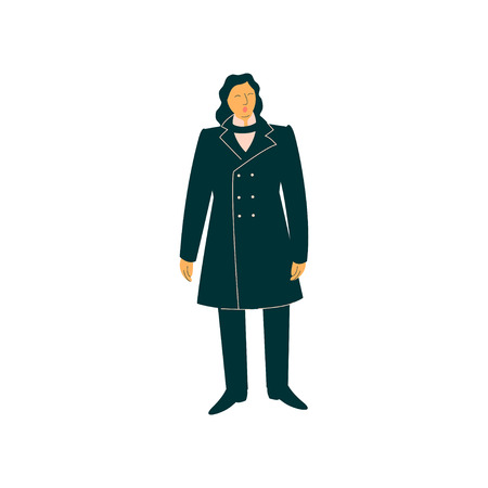Male Opera Singer Performing On Stage, Man Giving Representation Wearing Retro Black Suit Vector Illustration Illustration