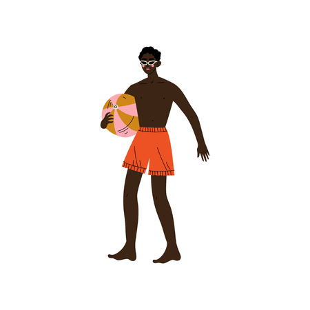 African American Man with Ball, Guy Relaxing on Beach on Summer Vacations Vector Illustration on White Background.
