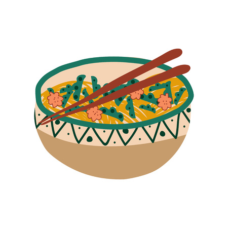 Bol en céramique de soupe de nouilles avec légumes et baguettes, cuisine traditionnelle chinoise ou japonaise, illustration vectorielle de nouilles ramen sur fond blanc.
