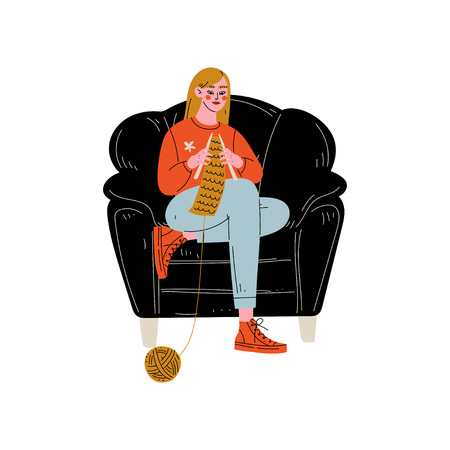 Young Woman Sitting in Armchair and Knitting, Girl Spending Weekend at Home and Relaxing Vector Illustration on White Background. Illustration