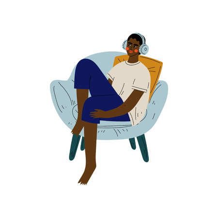 Young African American Man Sitting in Armchair and Listening to Music in Headphones, Guy Spending Weekend at Home and Relaxing, Rest at Home Vector Illustration on White Background.